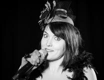 Christel Kern die chanson zingen Portret van Franse actrice scène Royalty-vrije Stock Foto's