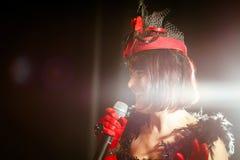 Christel Kern die chanson zingen Portret van Franse actrice scène stock afbeelding
