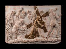 Christelijk het bronsbeeld van de pleisterhulp stock afbeelding