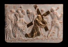 Christelijk het bronsbeeld van de pleisterhulp stock foto's