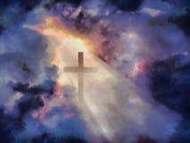 Christelijk kruis in dramatische wolken royalty-vrije illustratie