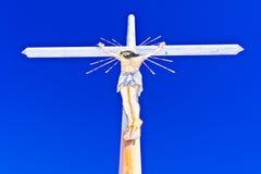 Christelijk kruis met gekruisigde Jesus Stock Foto