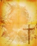 Christelijk kruis op document achtergrond Stock Afbeelding