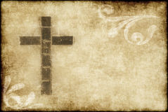 Christelijk kruis op perkament Stock Foto