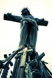 Christelijk Kruisbeeld en Kruis Royalty-vrije Stock Foto's