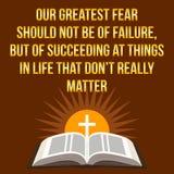 Christelijk motievencitaat Onze grootste vrees zou niet moeten zijn van stock illustratie