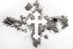 Christelijk orthodox dwarsdiesymbool in grijze as, stof wordt gemaakt stock afbeeldingen