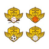 Christelijk sportenembleem Schild, vleugels, het kruis van Jesus Voetbal, basketbal, volleyball en honkbal stock illustratie