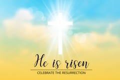 Christelijke beweging veroorzakend van Pasen, met tekst is hij toegenomen vector illustratie