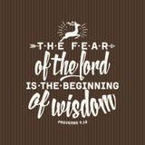 Christelijke druk De vrees voor Lord is het begin van wijsheid stock illustratie