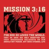 Christelijke druk Het opdracht3:16, voor God hield zo van de wereld vector illustratie