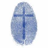 Christelijke druk Kruis op een vingerafdruk vector illustratie