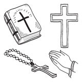 Christelijke hand-drawn symbolenillustratie Stock Foto