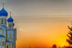 Christelijke kerk met blauwe koepels en gouden Royalty-vrije Stock Foto