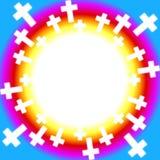 Christelijke kruisen rond een regenboog vector illustratie