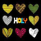 Christelijke met de hand getrokken inschrijvingen en harten Bijbelse vectorillustraties en pictogrammen vector illustratie