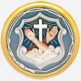 Christelijke symbolen van kruis en stigmata stock foto's