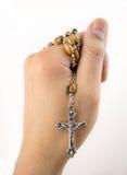 Christen die met rozentuin bidden stock foto