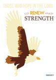Christendomkunst in het 40:31 van Isaiah; Abstract Eagle die op witte achtergrond vliegen Royalty-vrije Stock Foto's