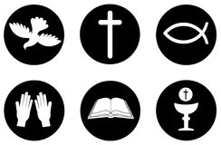 Christendompictogrammen en symbolen Royalty-vrije Stock Foto's
