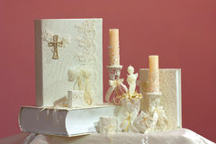 Christening accessory set Royalty Free Stock Images