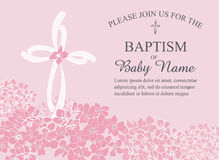 Christening, Baptism, Communion, Or Confirmation Invitation Template With Cross And Floral Accents Royalty Free Stock Photography