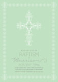 Christening, Baptism, First Communion, Confirmation Invitation template. With white line art cross Royalty Free Stock Photography