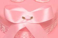 Christening cake. Ribbon close up Royalty Free Stock Images