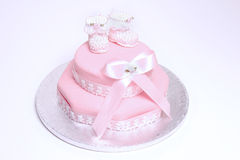 Christening cake. For baby girl Royalty Free Stock Photography
