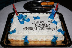 Christening cake for baby boy with Andrei Cristian name Royalty Free Stock Photography