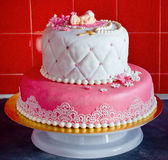 Christening cake for baby girl royalty free stock images