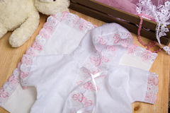 Christening dress. Set of clothes Royalty Free Stock Photos