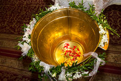 Christening font. Font decorated for christening in an orthodox church royalty free stock photos