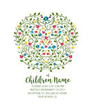 Christening Invite - Invitation Template with Pigeon and Flowers Royalty Free Stock Photo