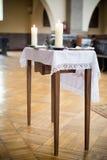 Christening stół w kościół Zdjęcia Stock