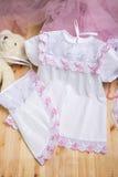 Christening suknia zestaw ubrań Fotografia Stock