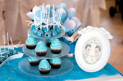 Christening twins sweets stand Royalty Free Stock Photography
