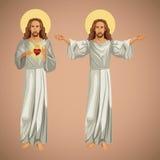 Christentum Jesuss Christus mit zwei Bildern lizenzfreie abbildung