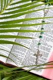Christentum - Rosenbeet und Bibel Stockfoto