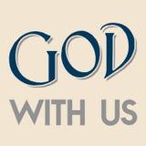 Christentumsglaube u. x22; Gott mit us& x22; ; Bedeutungsname des Gottes; Farbgrafik des blauen Graus und Creme Lizenzfreie Stockfotografie