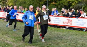 Christer Grunder finish his number 52 TCS Lidingoloppet, a cross country race, he have done all Lidingoloppet race so far Royalty Free Stock Image