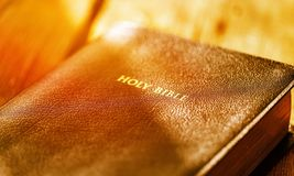 Christian. Antique bible book brown chapter christ Stock Photography