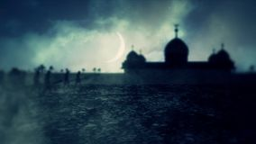 Christian Army March Close to a Muslim Mosque at Night with a Crescent Moon