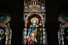 Christian Art in Almudena cathedral in Madrid, stained glass medieval historical religious artwork christianity Royalty Free Stock Photography