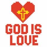 Christian art. Colorful interlocking plastic bricks, plastic construction. God is love.  stock illustration