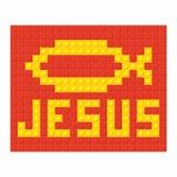 Christian art. Colorful interlocking plastic bricks, plastic construction. Jesus.  royalty free illustration