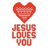 Christian art. Colorful interlocking plastic bricks, plastic construction. Jesus loves you. Christian art. Colorful interlocking plastic bricks, plastic stock illustration