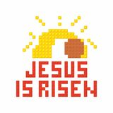 Christian art. Colorful interlocking plastic bricks, plastic construction. Jesus is risen.  royalty free illustration