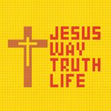 Christian art. Colorful interlocking plastic bricks, plastic construction. Jesus is the way, and truth and the life.  royalty free illustration