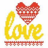 Christian art. Colorful interlocking plastic bricks, plastic construction. Love.  stock illustration